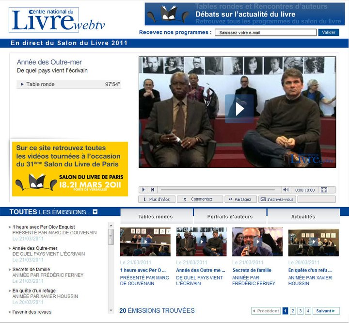 Conception de la web-tv du Centre National du Livre
